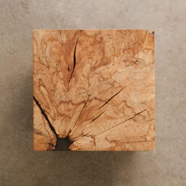 Wood cube maple grain with clear resin for modern luxury home
