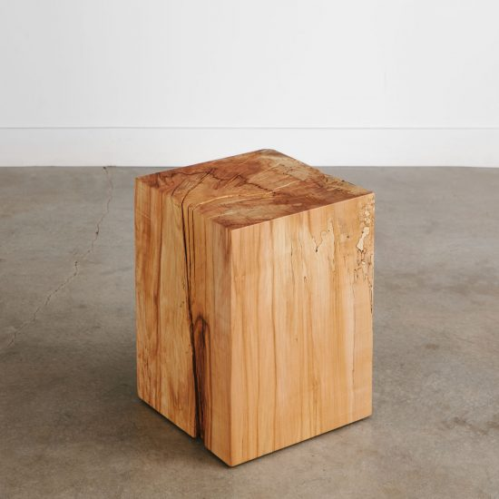 Handmade maple cube side table for luxury city apartment