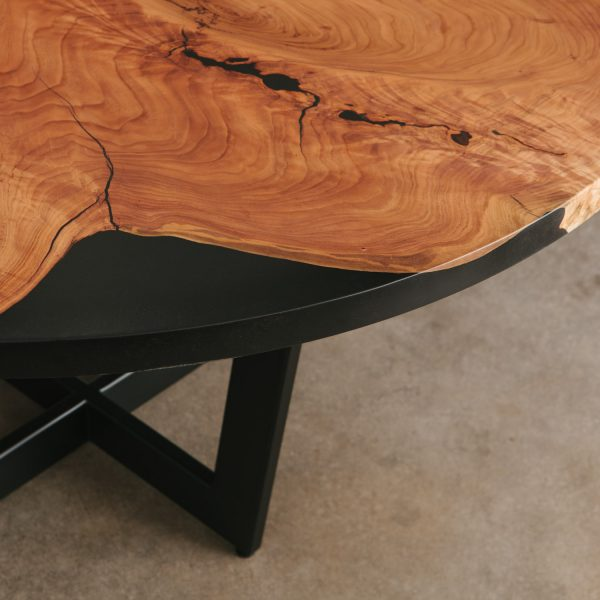 Luxury live edge cherry table detail filled with black resin at Elko Hardwoods