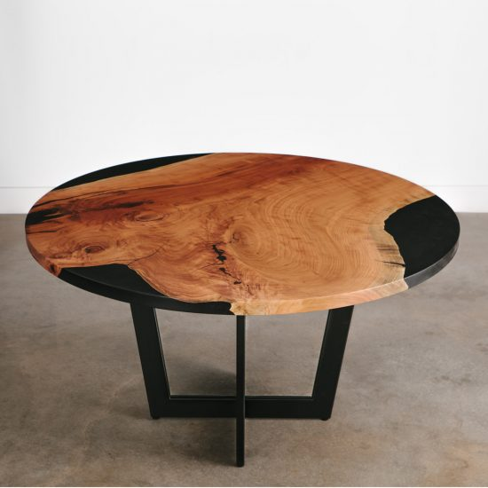 Custom luxury handmade live edge cherry table with black resin