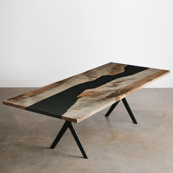 Modern live edge grey ebonized maple resin river table for luxury apartment Chicago