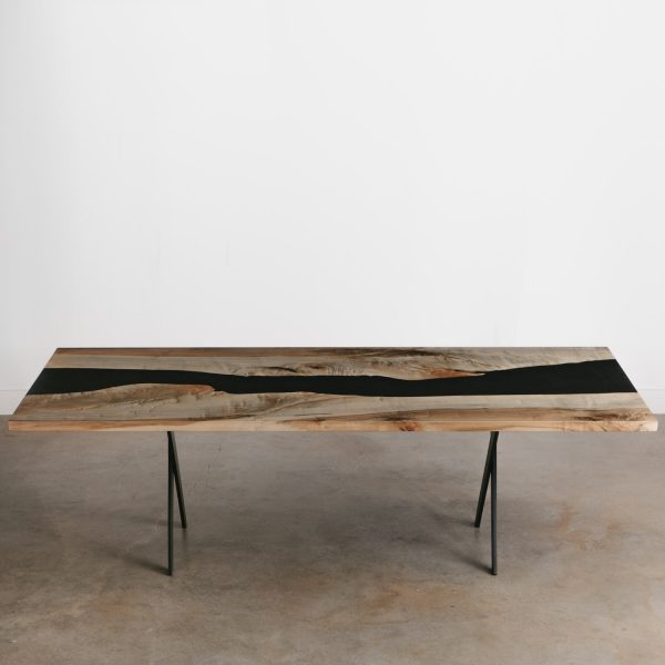 Mid century modern live edge dining room table Chicago