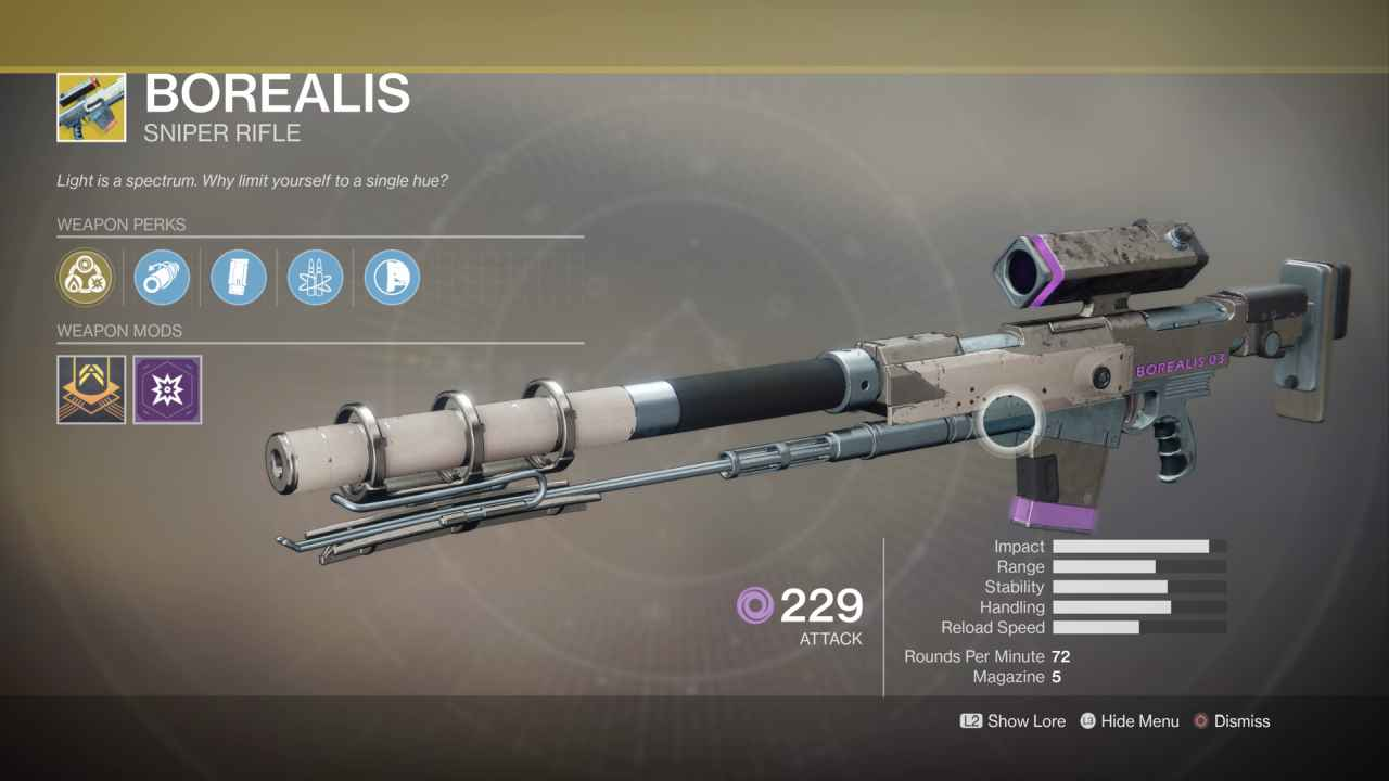 Destiny 2 Sniper Rifle Borealis
