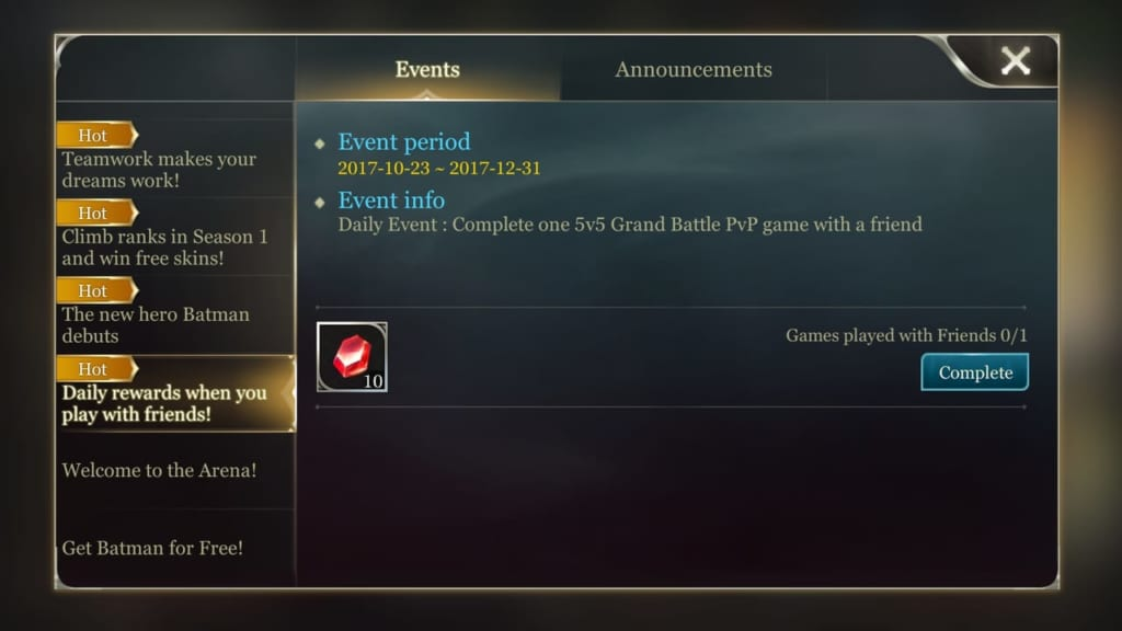 Arena of Valor Daily Quests