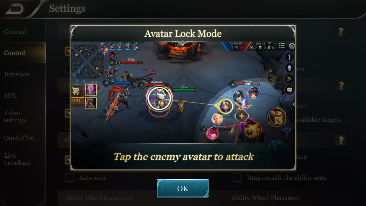 Arena of Valor Avatar Lock Mode