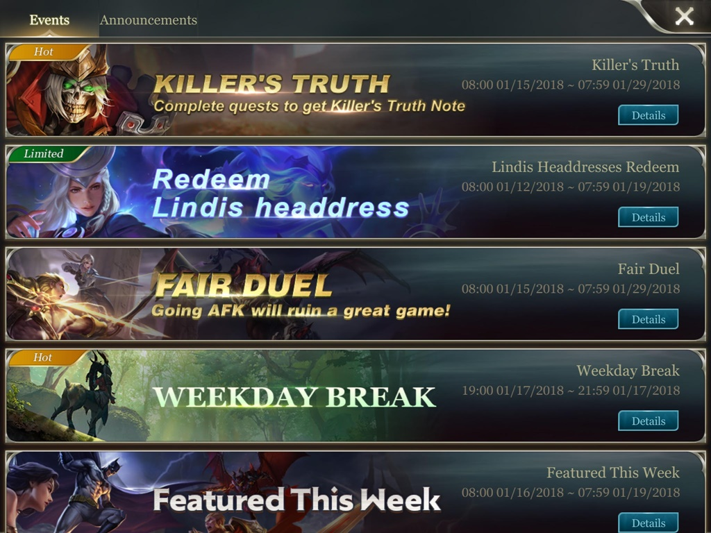 Arena of Valor Events