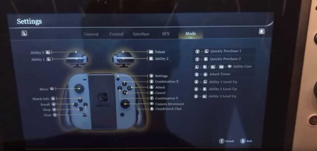Arena of Valor Nintendo Switch Settings Menu