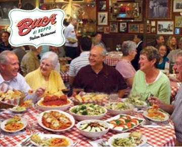 Buca di Beppo serves authentic Italian family-style meals in an eclectic and vintage setting. Buca is the perfect place for celebrating a special occasion, planning a business lunch or having a casual dinner with family and friends. At Buca, everyone can enjoy the Italian traditions of food, friendship and hospitality.