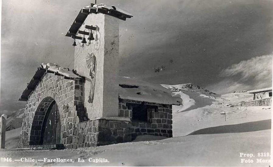 Enterreno - Fotos históricas de chile - fotos antiguas de Chile - Capilla Farellones en 1955