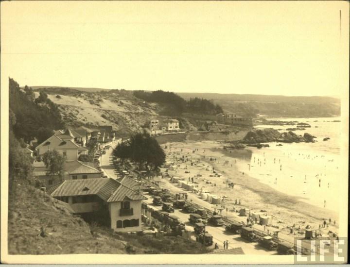 Enterreno - Fotos históricas de chile - fotos antiguas de Chile - Playa Amarilla de Concon, ca. 1930
