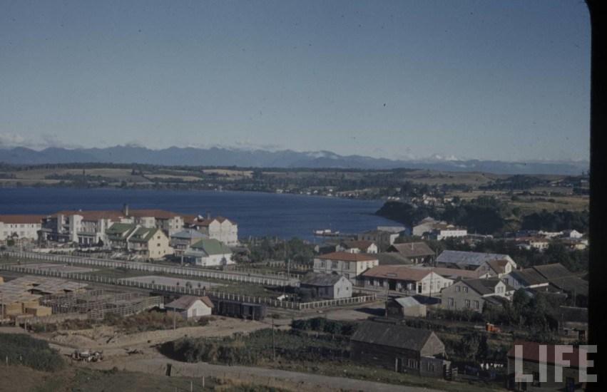 Enterreno - Fotos históricas de chile - fotos antiguas de Chile - Puerto Varas y el Hotel en el año 1941