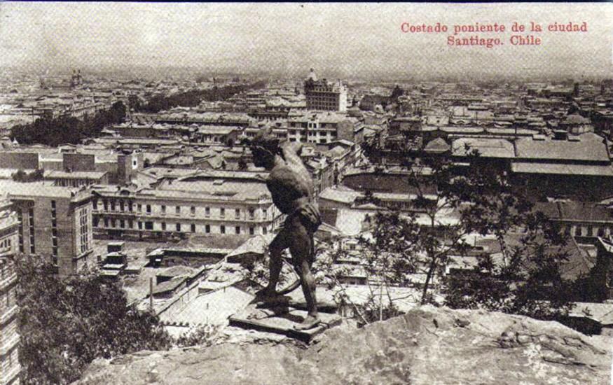 Enterreno - Fotos históricas de chile - fotos antiguas de Chile - Vista de Santiago hacia el poniente en los años '20s.