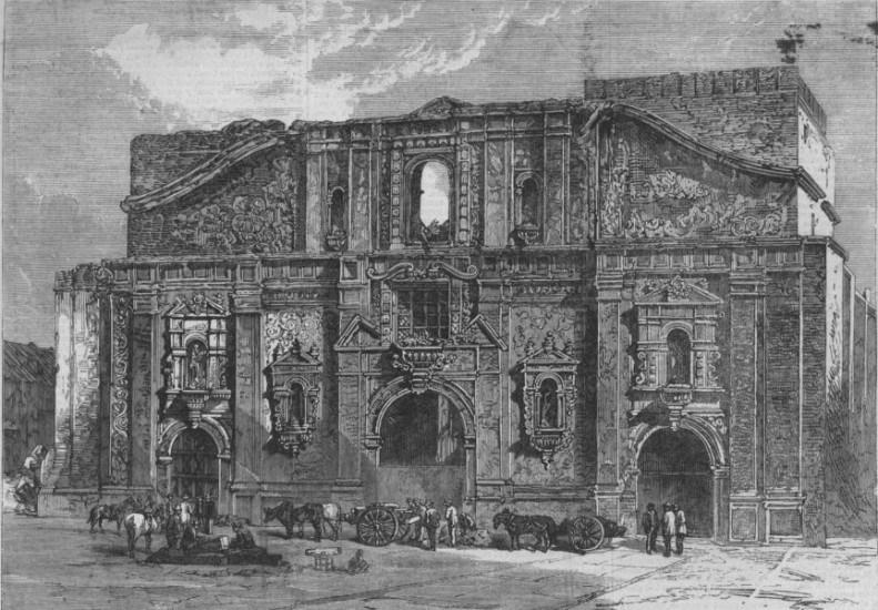Enterreno - Fotos históricas de chile - fotos antiguas de Chile - Ruinas de la Iglesia de la Compañia, 1864.
