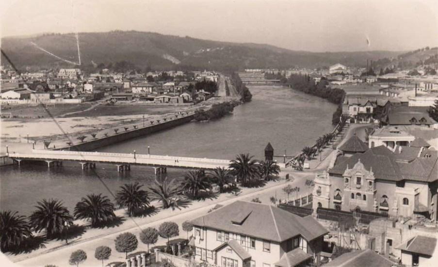 Enterreno - Fotos históricas de chile - fotos antiguas de Chile - Puente San Martín y el Estero Marga Marga de Viña del Mar en 1933.