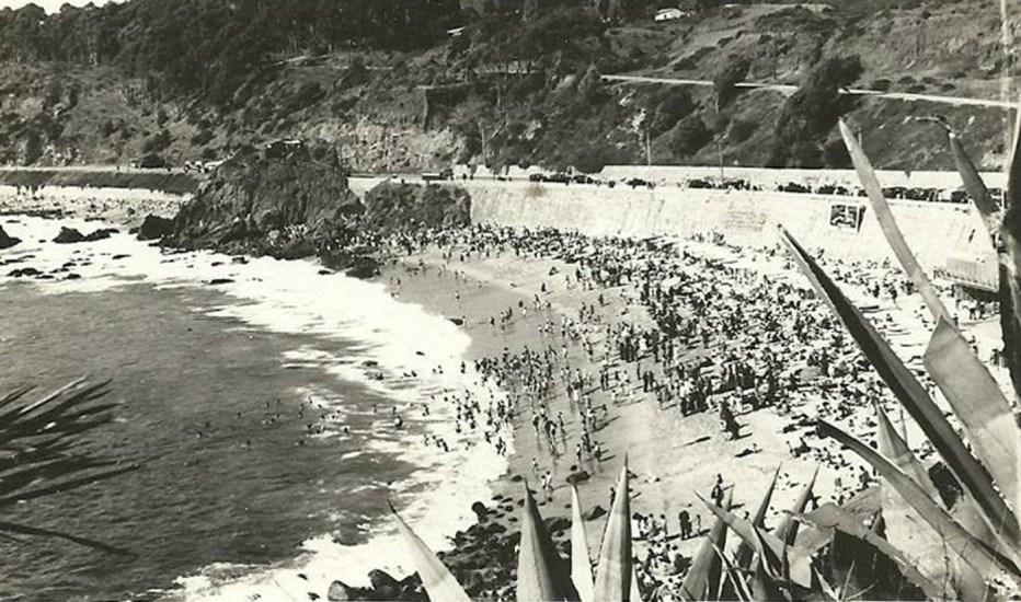 Enterreno - Fotos históricas de chile - fotos antiguas de Chile - Balneario de Las Salinas en Viña del Mar, años '40s