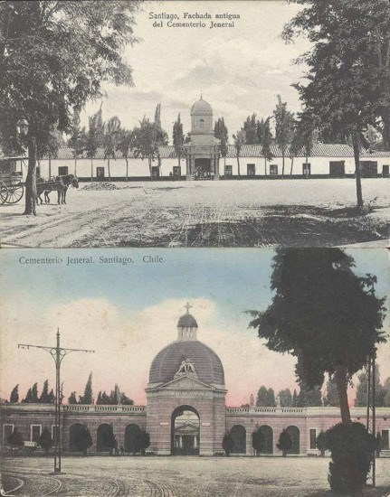 Enterreno - Fotos históricas de chile - fotos antiguas de Chile - Comparacion entre fachada antigua y actual de Cementerio General