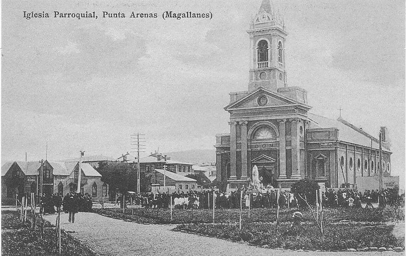 Enterreno - Fotos históricas de chile - fotos antiguas de Chile - Iglesia Parroquial (Catedral) de Punta Arenas, años 20