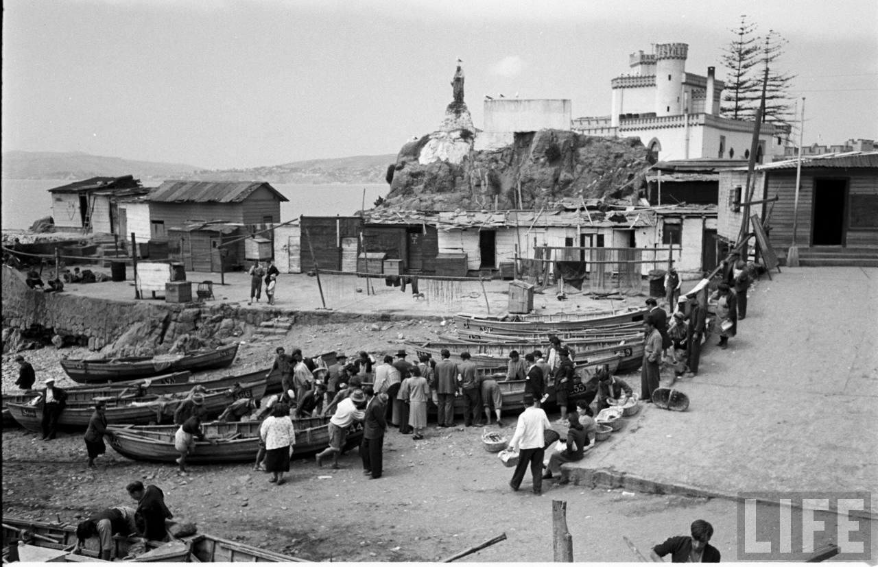 Enterreno - Fotos históricas de chile - fotos antiguas de Chile - Caleta el Membrillo en 1950