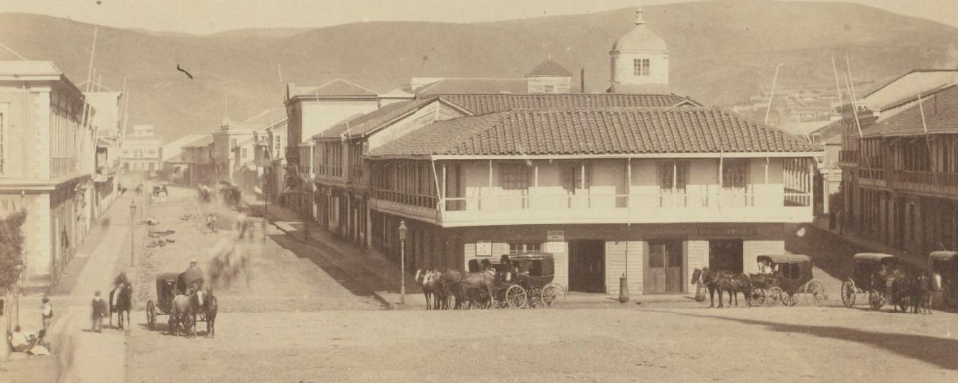 Enterreno - Fotos históricas de chile - fotos antiguas de Chile - Centro de Valparaíso calle Victoria (Pedro Montt), 1860