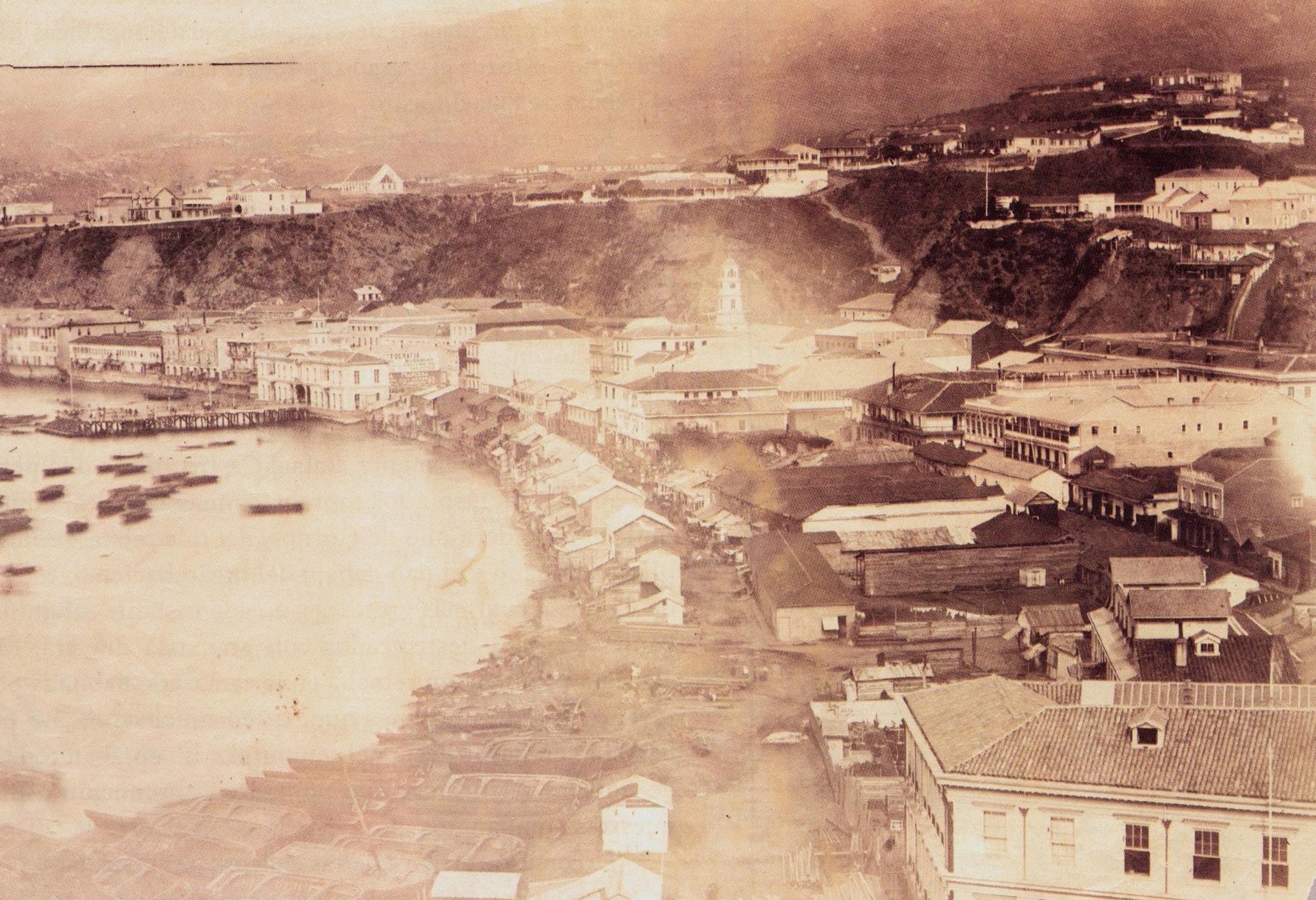 Enterreno - Fotos históricas de chile - fotos antiguas de Chile - Bahía de Valparaíso año 1864