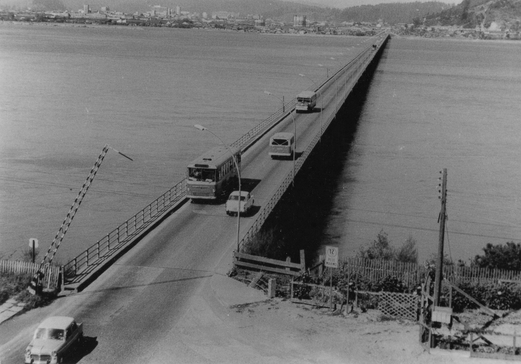 Enterreno - Fotos históricas de chile - fotos antiguas de Chile - Puente Biobío  en 1960