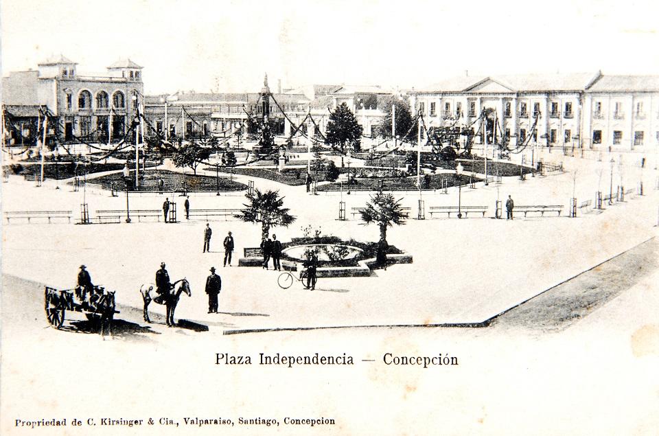 Enterreno - Fotos históricas de chile - fotos antiguas de Chile - Plaza Independencia de Concepción ca. 1900