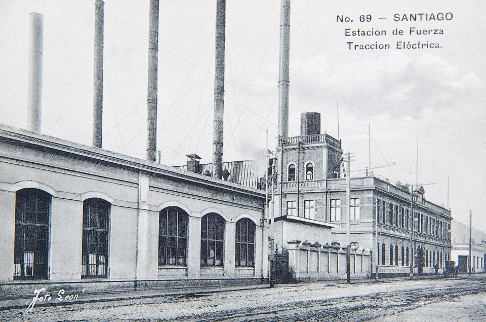 Enterreno - Fotos históricas de chile - fotos antiguas de Chile - Estación de fuerza tracción eléctrica ca. 1930