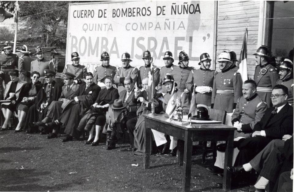 Enterreno - Fotos históricas de chile - fotos antiguas de Chile - Inauguración Cuartel Quinta Compañía, 1954