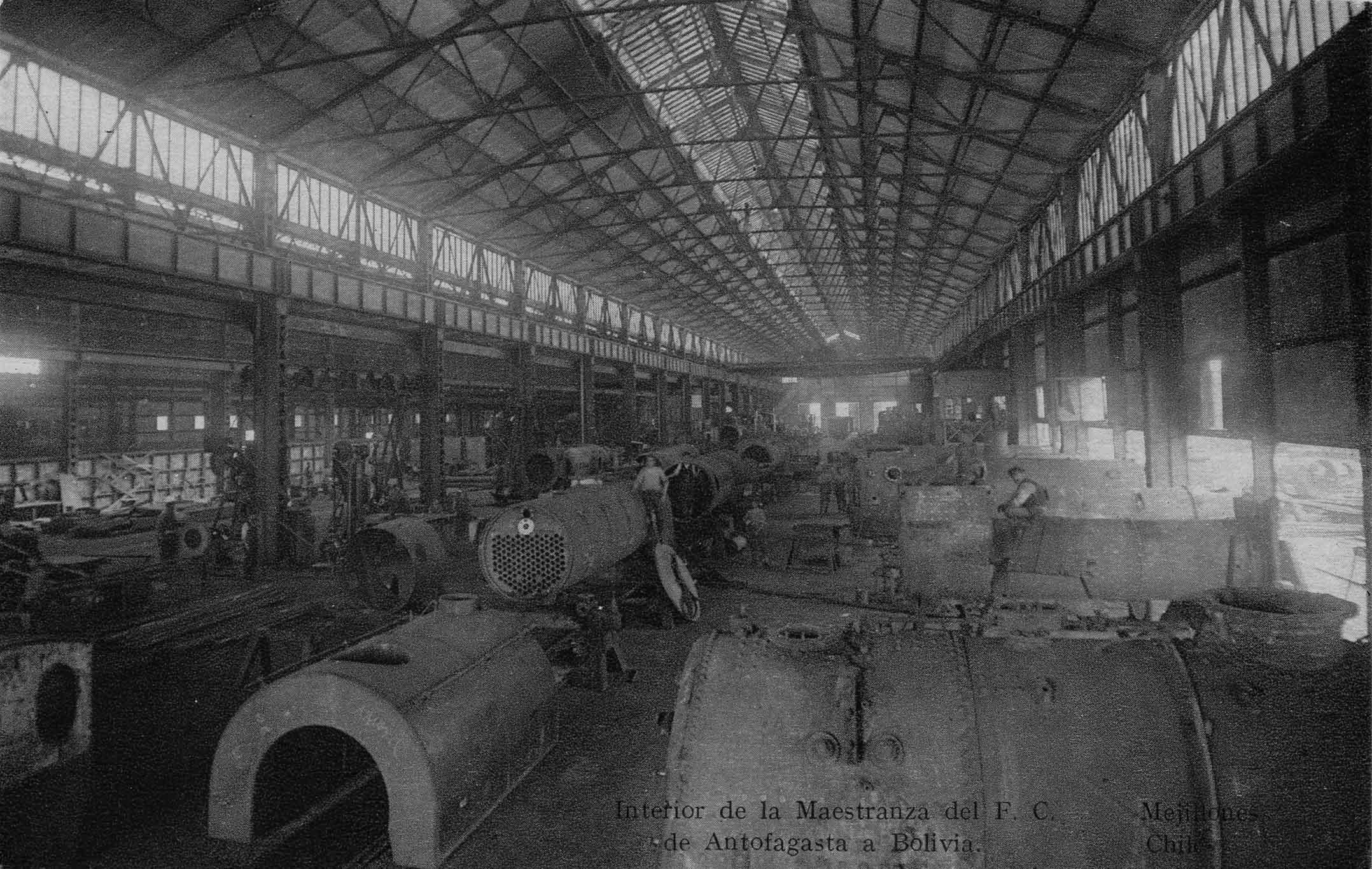 Enterreno - Fotos históricas de chile - fotos antiguas de Chile - Maestranza de Ferrocarriles en Mejillones, ca. 1920