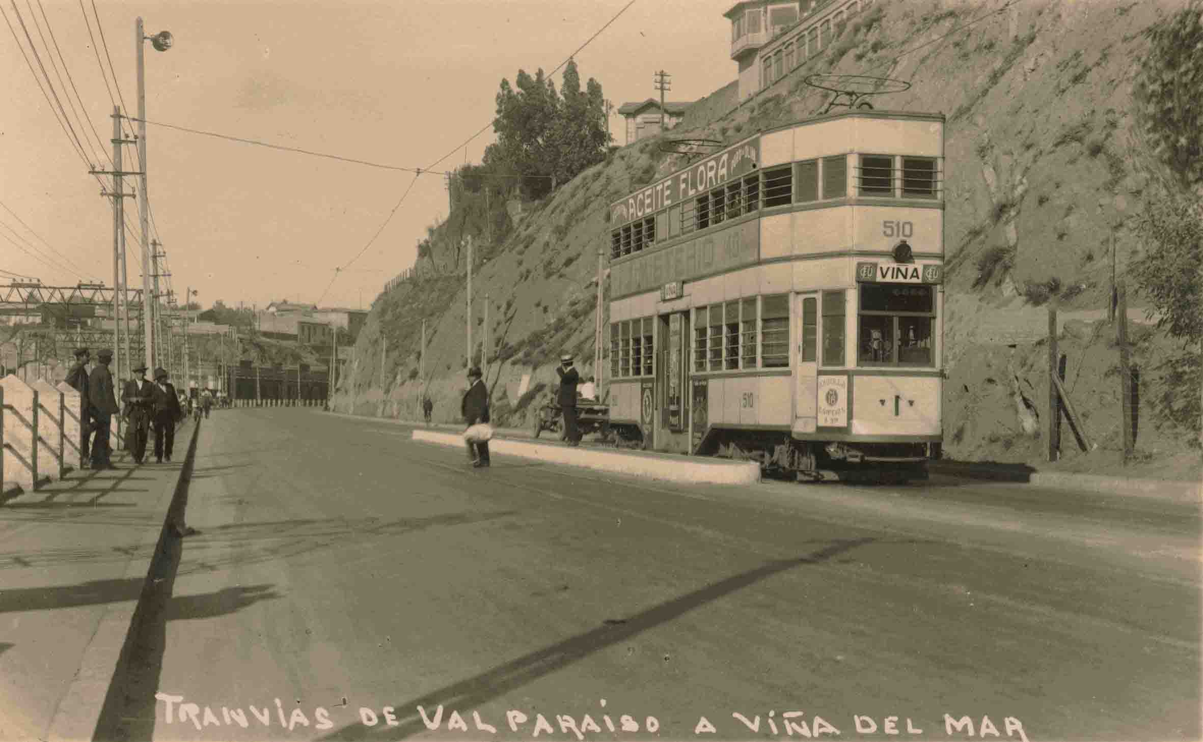 Enterreno - Fotos históricas de chile - fotos antiguas de Chile - Tranvía Viña - Valparaíso, ca. 1930