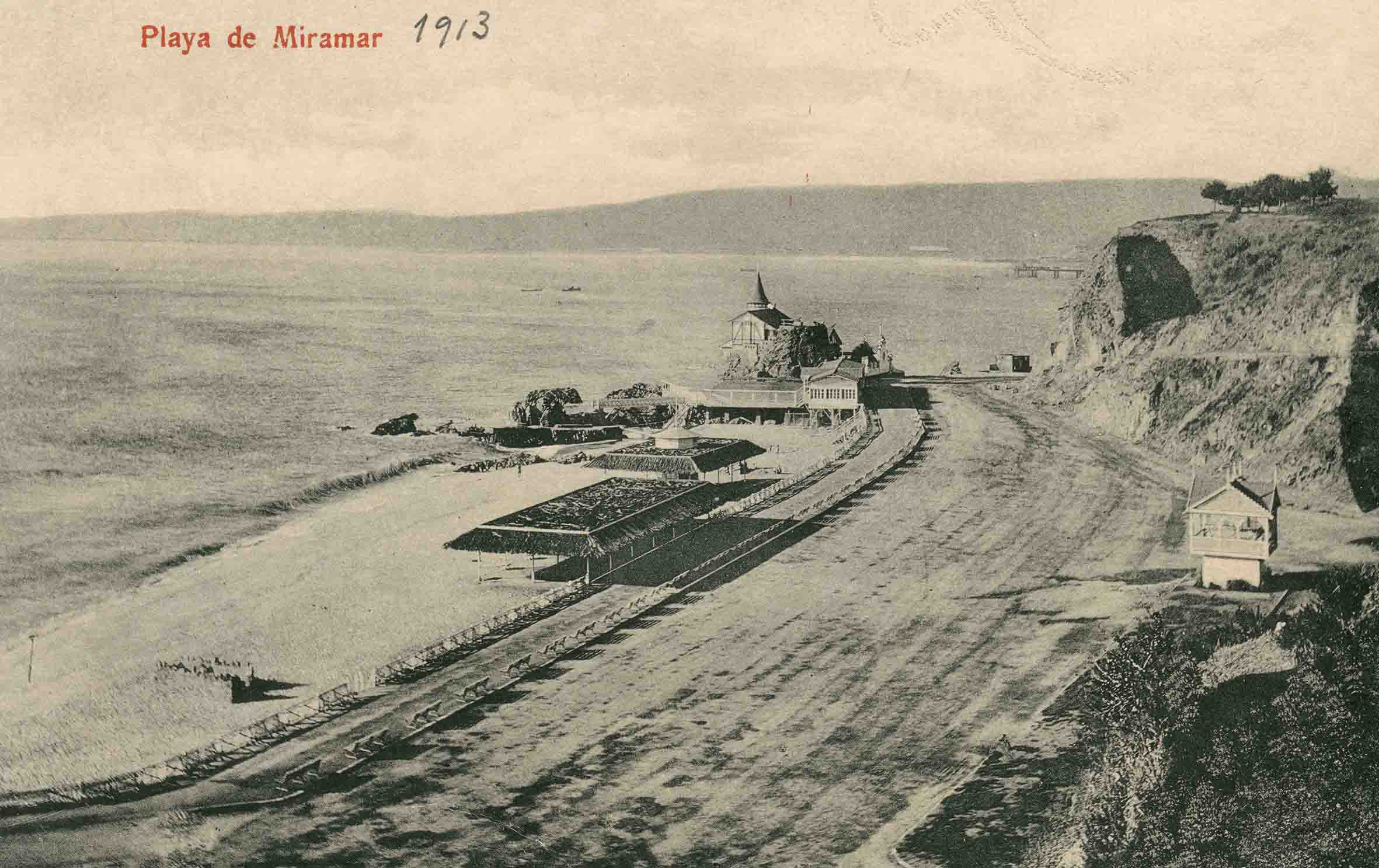 Enterreno - Fotos históricas de chile - fotos antiguas de Chile - Playa Miramar de Viña del mar en 1913