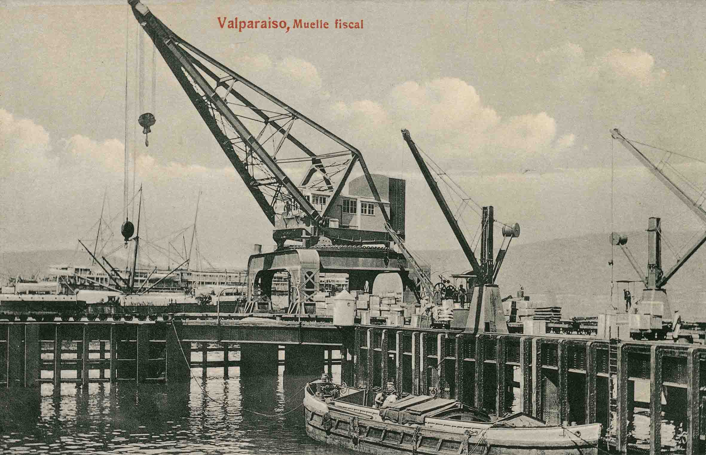 Enterreno - Fotos históricas de chile - fotos antiguas de Chile - Muelle fiscal de Valparaíso en 1912