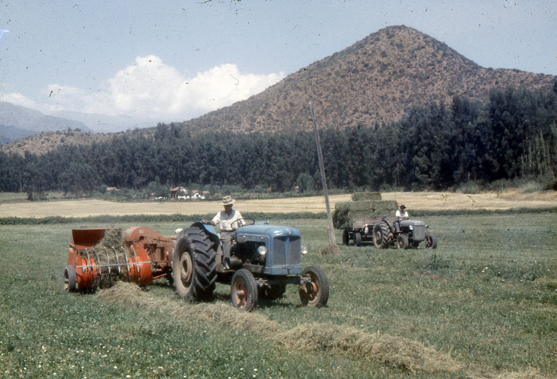 Enterreno - Fotos históricas de chile - fotos antiguas de Chile - Tractor en Fundo La Punta, 1963
