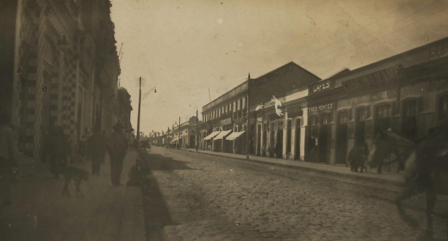 Enterreno - Fotos históricas de chile - fotos antiguas de Chile - Calle Roble en Chillán, 1910