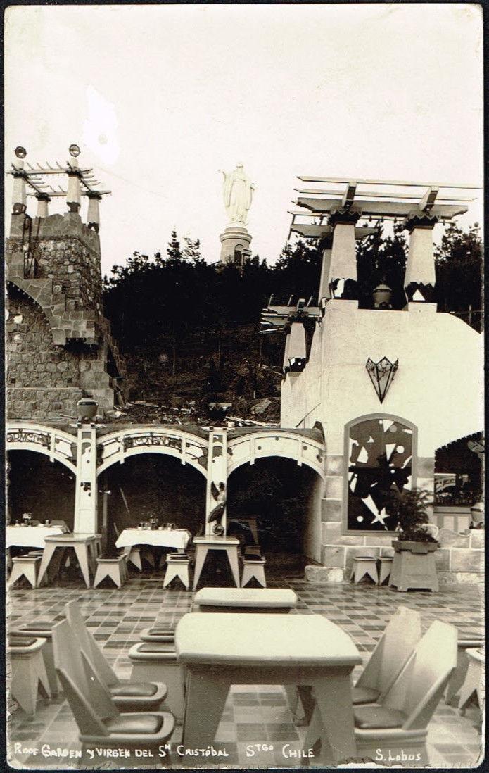"""Enterreno - Fotos históricas de chile - fotos antiguas de Chile - La Virgen del Cerro San Cristóbal desde El """"Roof Garden"""" de Santiago, 1925"""