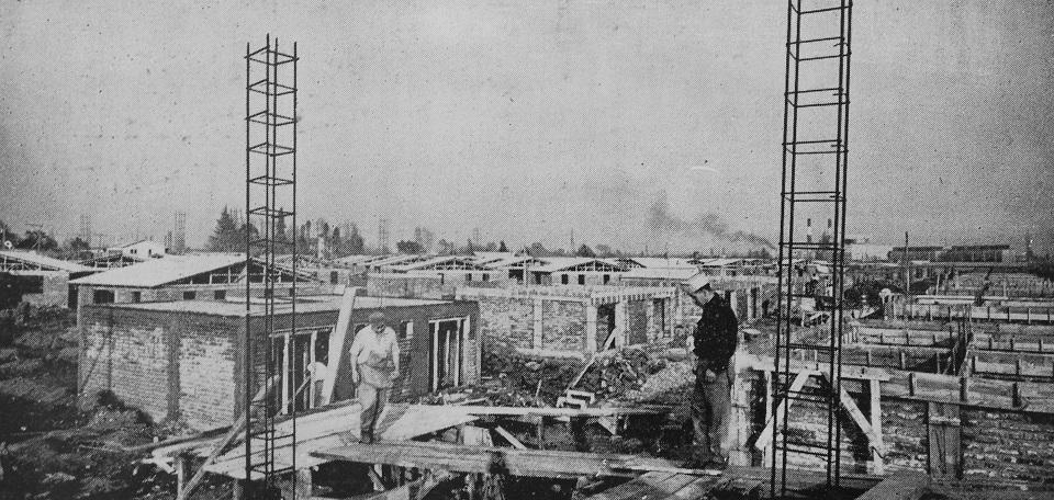 Enterreno - Fotos históricas de chile - fotos antiguas de Chile - Construcción de barrio de Renca en 1963