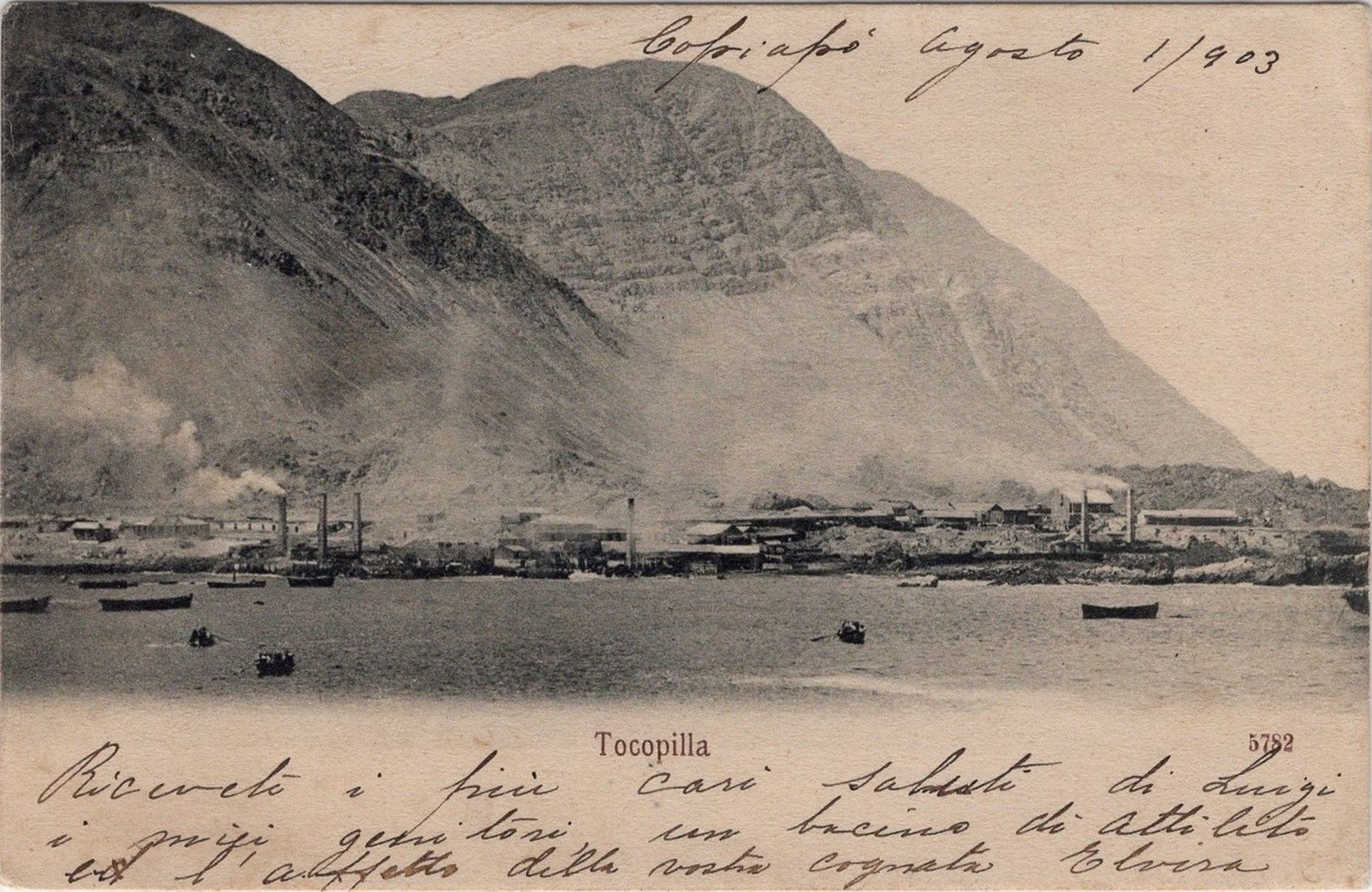 Enterreno - Fotos históricas de chile - fotos antiguas de Chile - Tocopilla desde el mar en 1900
