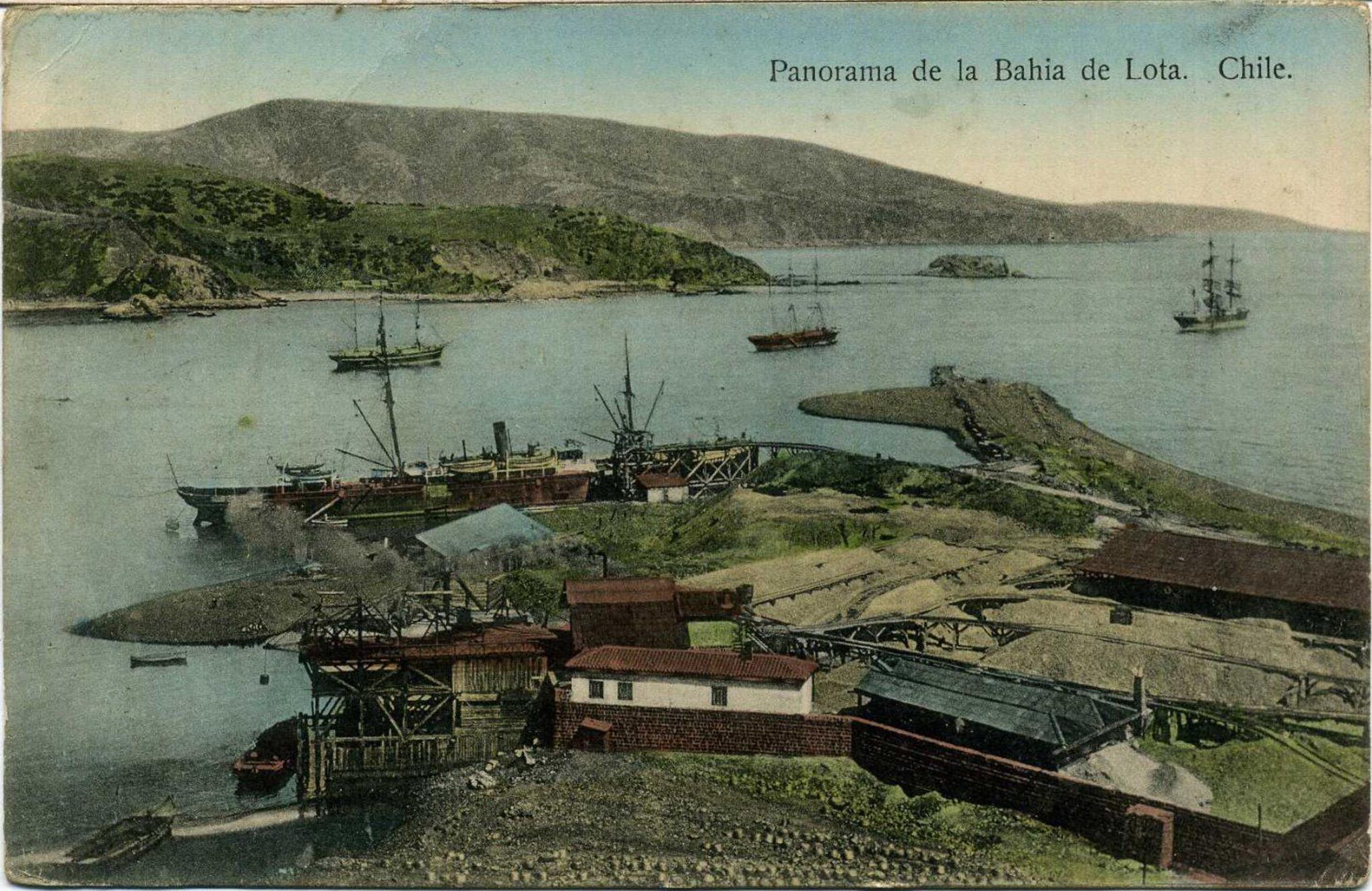 Enterreno - Fotos históricas de chile - fotos antiguas de Chile - Bahia de Lota, 1915