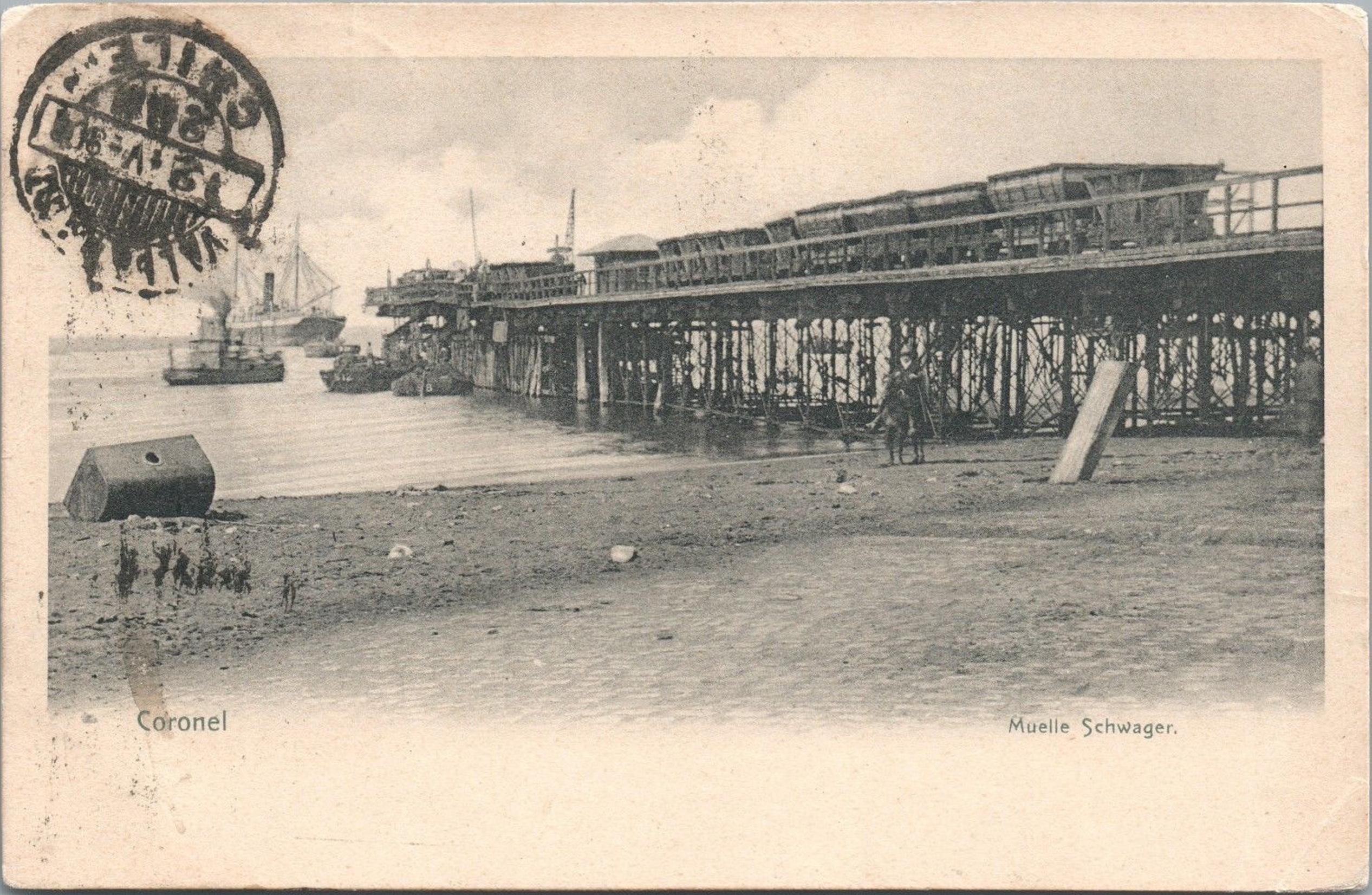 Enterreno - Fotos históricas de chile - fotos antiguas de Chile - Muelle del carbón en Coronel, 1908