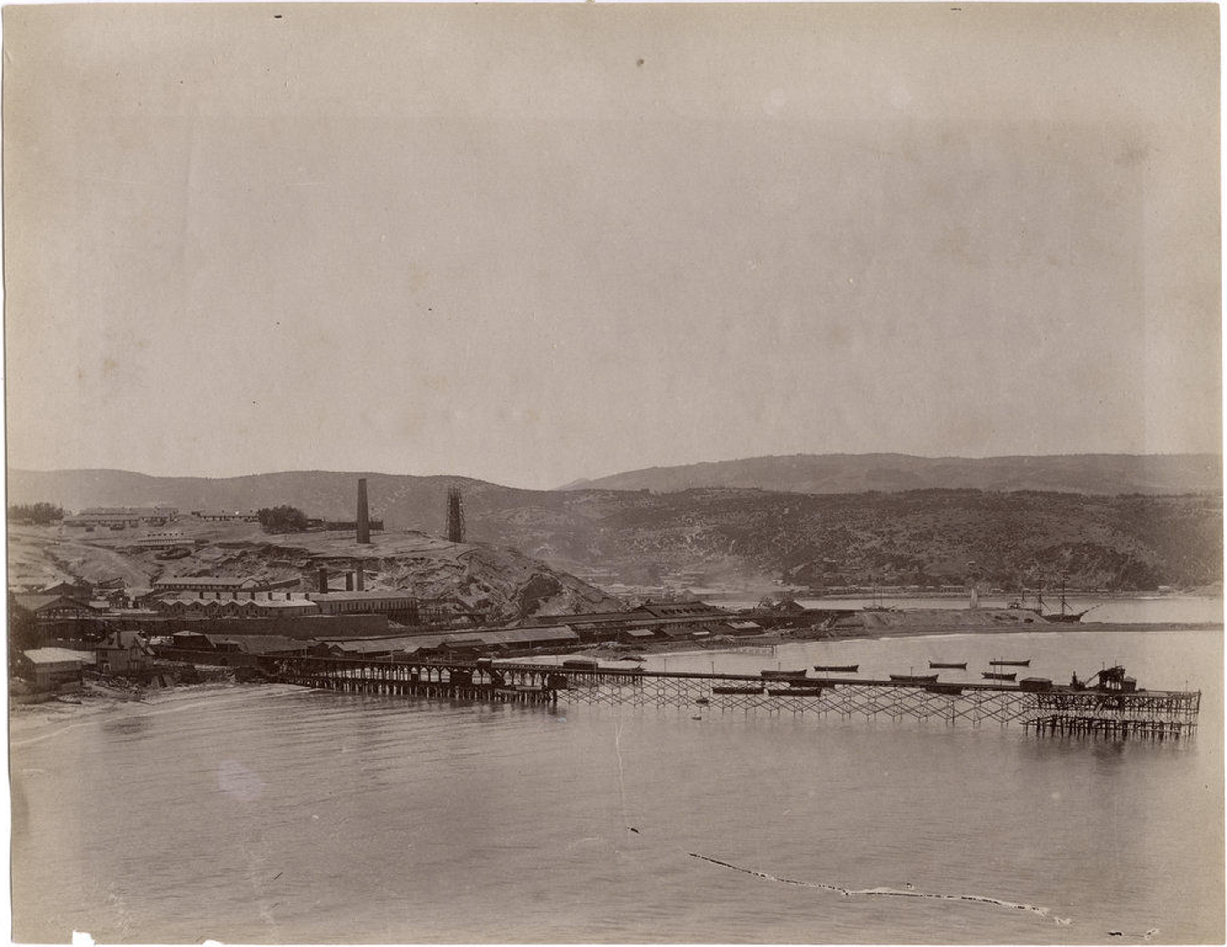 Enterreno - Fotos históricas de chile - fotos antiguas de Chile - Muelle de Lota, 1890
