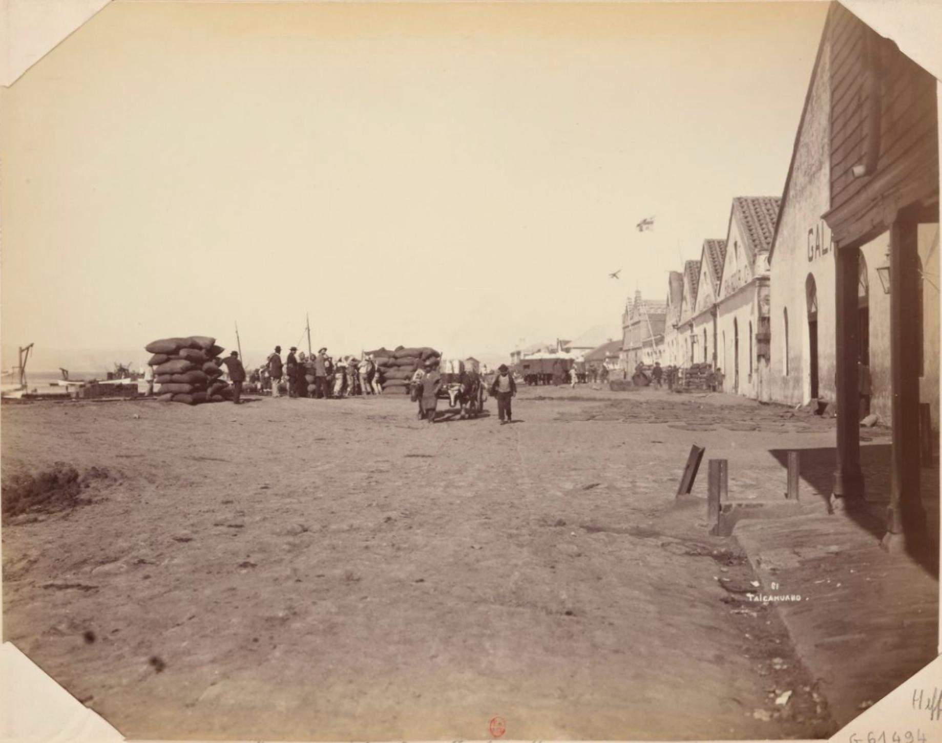 Enterreno - Fotos históricas de chile - fotos antiguas de Chile - Muelles de Talcahuano en 1895