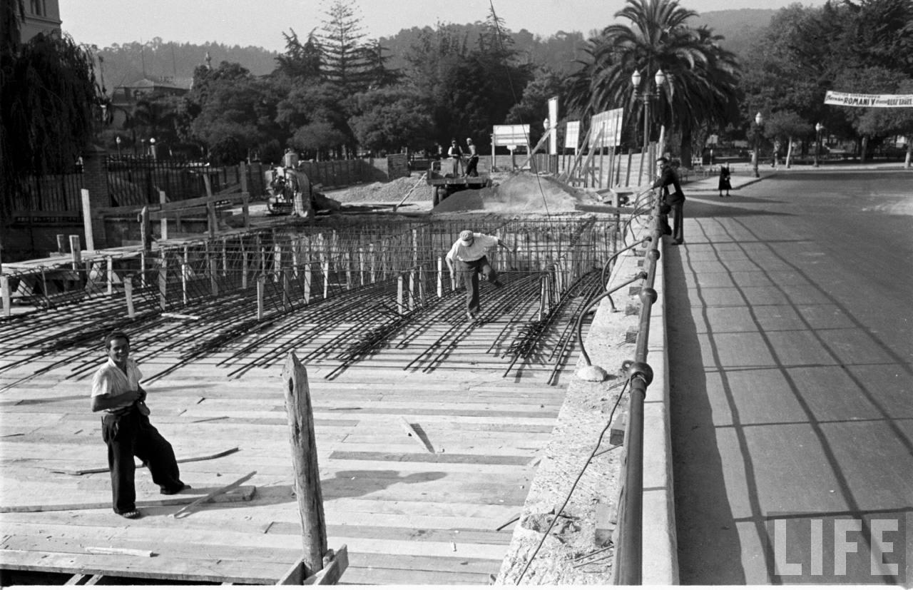 Enterreno - Fotos históricas de chile - fotos antiguas de Chile - Ampliación puente Libertad Viña del Mar, 1950