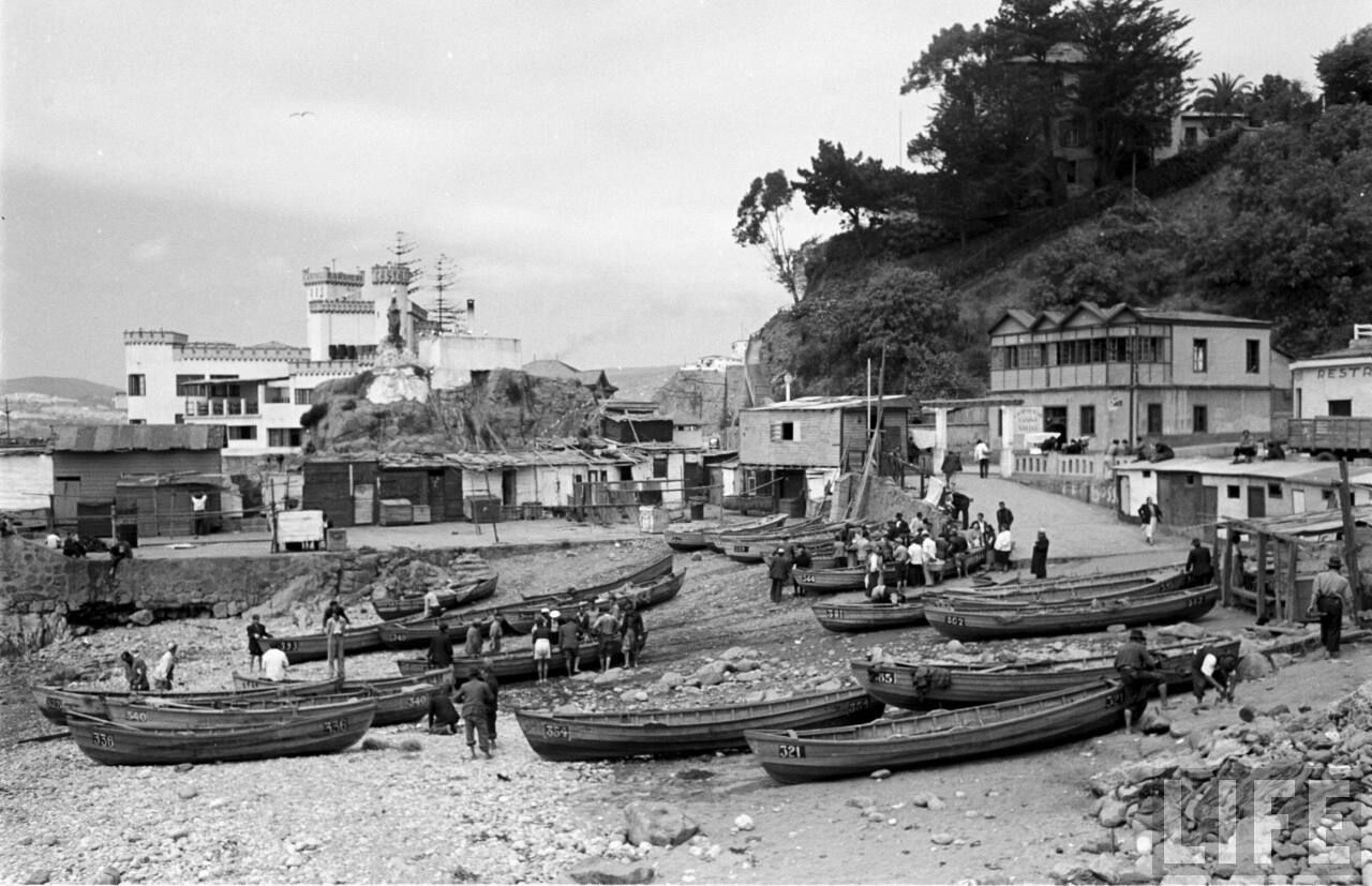 Enterreno - Fotos históricas de chile - fotos antiguas de Chile - Caleta El Membrillo de Valparaíso, 1950