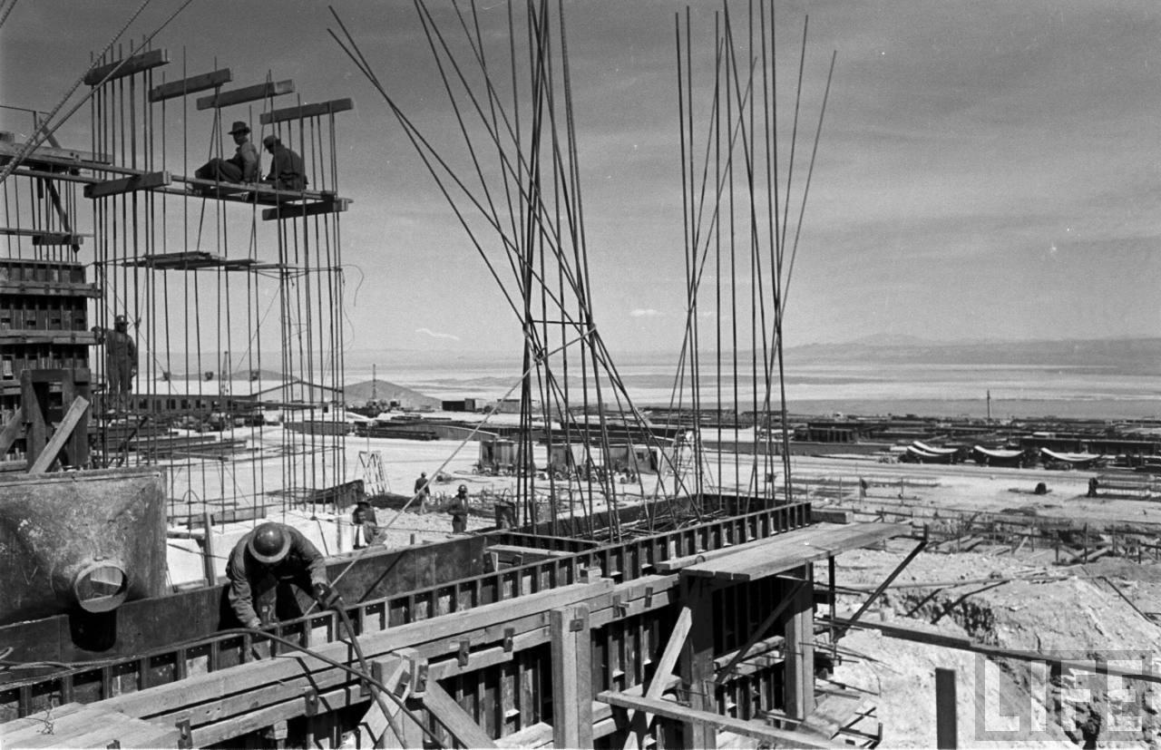 Enterreno - Fotos históricas de chile - fotos antiguas de Chile - Construcción Norte de Chile, 1950