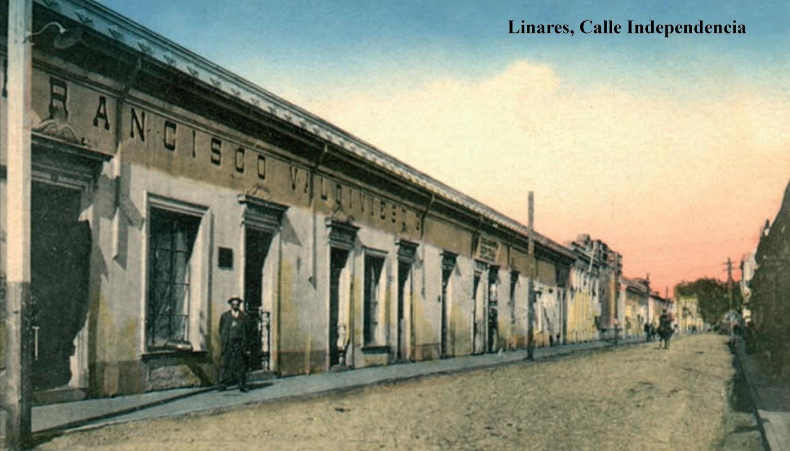 Enterreno - Fotos históricas de chile - fotos antiguas de Chile - Calle independencia de Linares en 1920