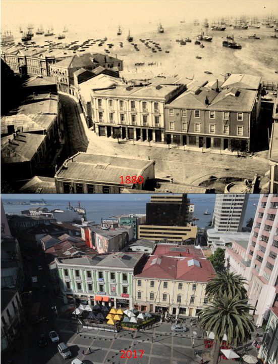Enterreno - Fotos históricas de chile - fotos antiguas de Chile - Comparativa Valparaiso 1880 a 2017