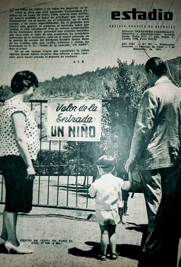 Enterreno - Fotos históricas de chile - fotos antiguas de Chile - Incentivo del club Universidad Católica puesto en la entrada del estadio Santa Rosa de Las Condes (1961)