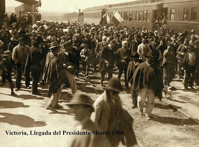 Enterreno - Fotos históricas de chile - fotos antiguas de Chile - Llegada del Presidente Montt, 1908
