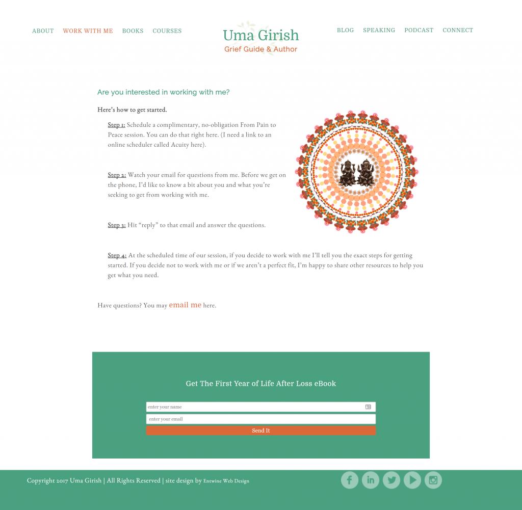 web design for grief coach