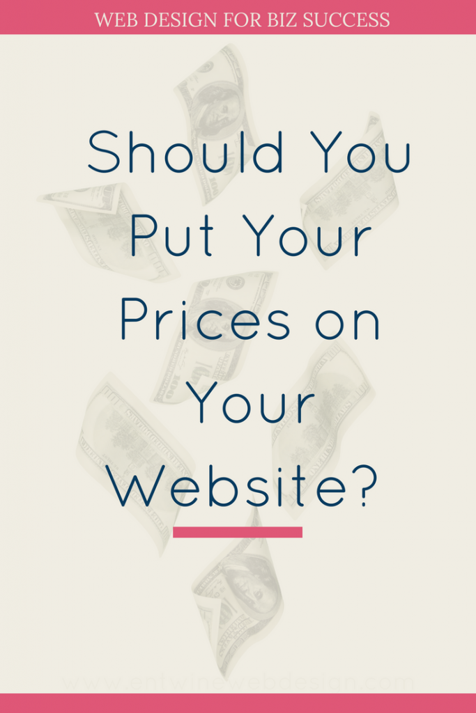 should I put prices on my website blog graphic